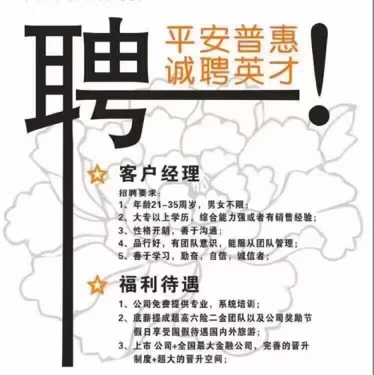 客户经理_中国平安普惠阜阳分公司招聘信息